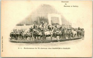 1900s French BARNUM & BAILEY CIRCUS Postcard Performance of 70 Horses Unused