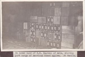 Photo; Manilla, Philippines, 00-10s; American Boxed apples in hold of Steamer