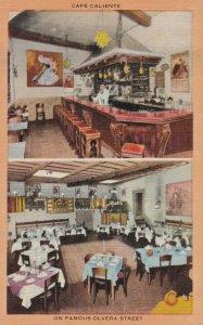 VINTAGE POST CARD - OLVERA STREET, CAFE CALIERNTE, LOS ANGLES, CA