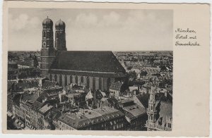 Vintage Frauenkirche München woman Church Munich Germany Postcard
