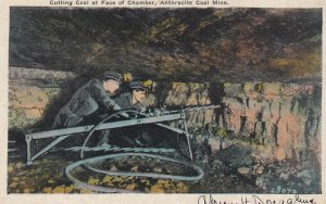 Cutting Coal at Face of chamber, anthracite Coal Mine , Pennsylvania , 1910s