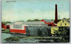 Winchendon Massachusetts~Baxter D Whitney & Son~Machine Co Factory~1911 Postcard