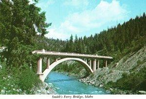 Vintage Postcard Smith's Ferry Bridge Cross Payette River McCall Idaho ID