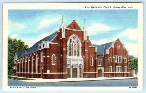 GREENVILLE, Mississippi MS ~ FIRST METHODIST CHURCH c1940s Linen  Postcard