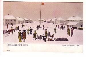 Interior Old Fort Garry, Now Winnipeg, Manitoba, Boys, Sleighs, Warwick