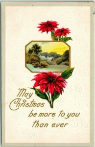1910s Embossed Postcard Poinsettias May Christmas be More to You Than Ever