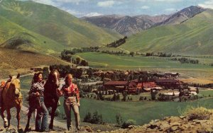 Idaho ID   GIRLS & HORSES On PENNY MOUNTAIN View Of SUN VALLEY  1966 Postcard