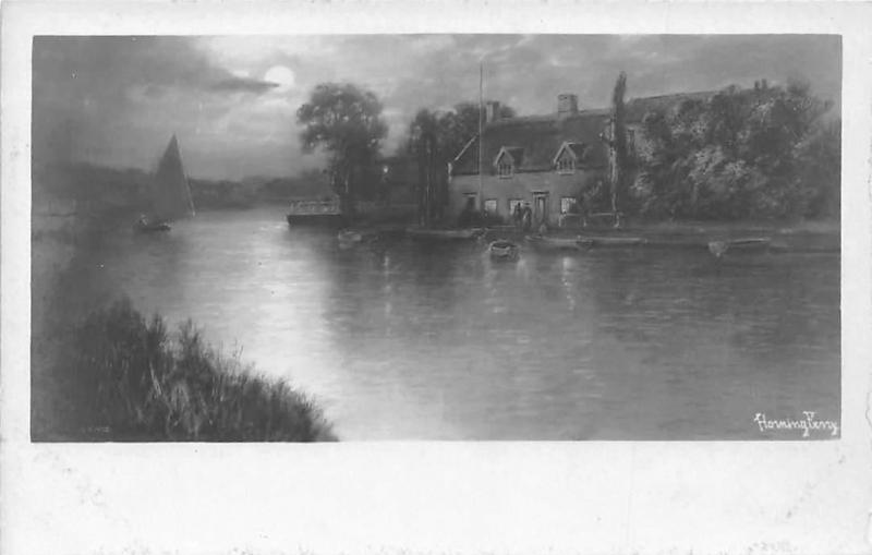 Carte Norfolk Angleterre.England Horning Ferry Norfolk Boats Moonlight Landscape