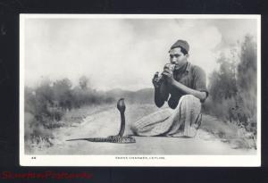 RPPC SNAKE CHARMER CEYLON SRI LANKA COLOMBO STAMPS OLD REAL PHOTO POSTCARD