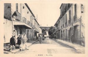 Arzew Algeria~Rue d'Isly~Men Watch Little Kids in Street~Vintage B&W Postcard