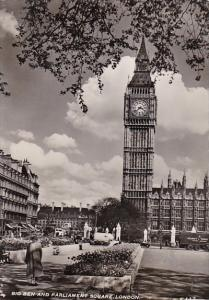 England London Big Ben and Parliament Square Real Photo