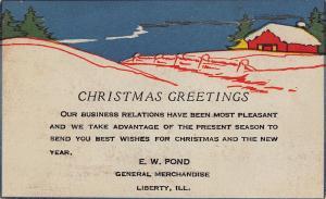 Liberty Illinois~EW Pond General Merchandise Store~Art Deco Christmas Wish~1928