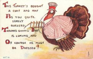 Fantasy Thanksgiving~Turkey in Striped Coat & Hat~Must Be Dressed~Pun~AMC
