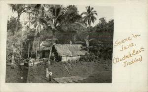 Java Indonesia Dutch East Indies Thatch Roof Homes c1910 Real Photo Postcard