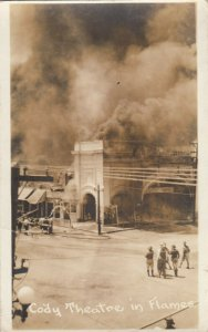 RP: DEMING , New Mexico, 1910s ; Cody Theatre in Flames