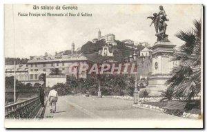 Old Postcard A Saluto Da Genova Piazza collar principle Monumento al Duca di ...