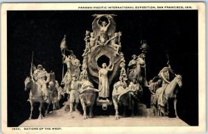 1915 PPIE Expo San Francisco Postcard Nations of the West Sculpture - Unused