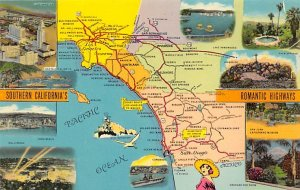 Southern CA's Romantic Highways USA Map Unused