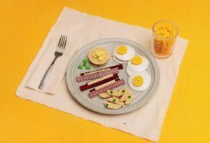 Bacon Scrambled Eggs Glass Of Orange Juice Breakfast Lego Toy Display Postcard