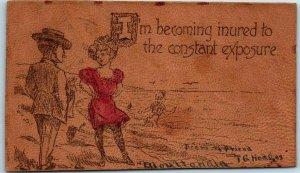 1907 MOULTON, Alabama LEATHER Postcard Girl / Beach Scene w/ Cancel