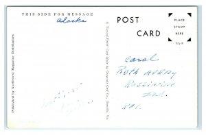 Postcard Trying to Take a Bath, Alaska AK (tiny dots) 1945 MA14