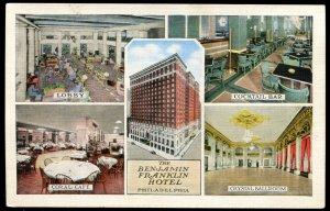 Benjamin Franklin Hotel, Philadelphia. 5 Views. Vintage linen postcard