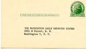 Pre-Printed U. S. Postal Card, Jefferson, 1-cent, Reply Card