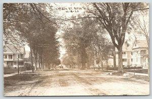 Ripon Wisconsin~Big Watson Street Homes~Horse Wagon on Dirt Road~1909 RPPC