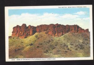 ROCK SPRINGS WYOMING THE BUTTES UNUSUAL ROCK FORMATION VINTAGE POSTCARD