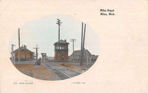 Milan Michigan Milan Depot Train Station Vintage Postcard AA20178