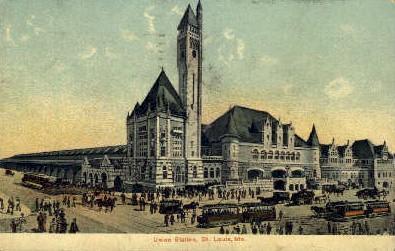 Union Depot, St Louis, Missouri, MO, USA Railroad Train Depot Postcard Post C...