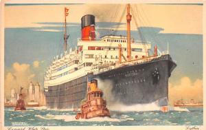 White Star Line Cunard Ship Post Card, Old Vintage Antique Postcard Scythia U...