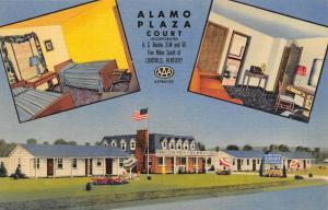 Louisville Kentucky~3 Vws: Alamo Plaza Motel Court~Big Radio~Roadside Linen~1949
