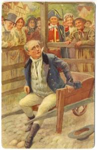 Raphael Tuck Man in Wheelbarrow Surrounded by Crowd Dickens Series Postcard