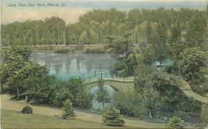 Lake, Glen Oak Park Peoria Illinois Strauss 1908 Postcard 5696