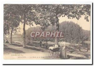 Asnieres Old Postcard The banks of the Seine (pram children)