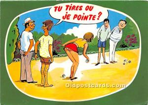 Old Vintage Lawn Bowling Postcard Post Card Tu Tires ou je Pointe Writing on ...