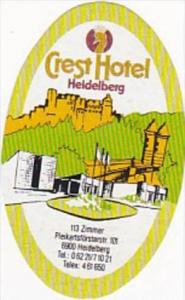 GERMANY HEIDELBERG CREST HOTEL VINTAGE LUGGAGE LABEL