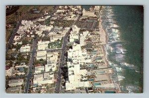 Miami FL- Florida, Florida's Fabulous Gold Coast, Aerial View, Chrome Postcard