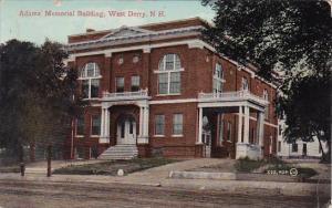 New Hampshire West Derry Adams Memorial Building 1912