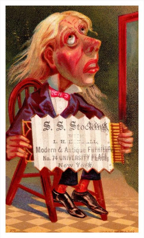 13417   Trade Card,  NY,   S.S.Stocking Co.   man holding accordian