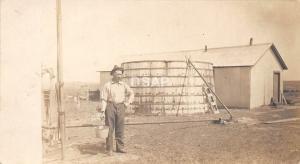 B97/ Occupational Real Photo RPPC Postcard Workers c1910 Water Tank Farmer? 7