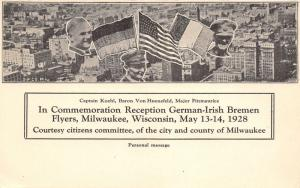 Milwaukee WI~German-Irish Bremen Flyers~Flags~Koehl~Baron Von Huenefeld~1928 PC