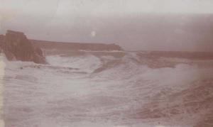 Scilly Isles Stromy Storm Style Rough Sea Original Antique Real Photo Postcard