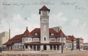 Exterior, Grand Trunk R.R. Station, Portland,Maine,PU-1906
