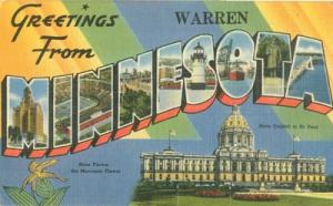 Greetings from Warren, Minnesota, 1949 used linen Postcard