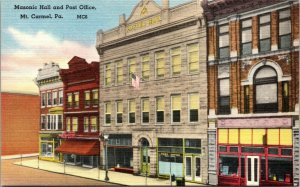 Vintage Postcard Masonic Hall and Post Office Mt. Carmel, Pa. Linen Era