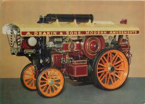 Fowler traction engine famous Supreme snowman heavy road postcard