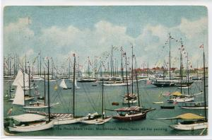Yacht Boat Marina Rock Mere Hotel Marblehead Massachusetts 1910c postcard