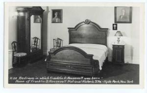 RPPC Bedroom Where Franklin D. Roosevelt was Born, Hyde Park, New York, NY Kodak